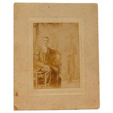 Unusual Cabinet Photo of Civil War Soldier and Spanish American Soldier 1898