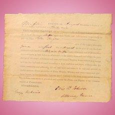 1839 Mifflin County,  Pennsylvania Tippling House is Denied  Liquor License Whiskey, Rum and Spirits