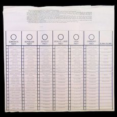 Original 1944 Presidential Voters Large Ballot Communist & Socialist Party FDR & WILKIE