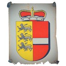 1898 Chromolithograph Travel Poster Coat of Arms  Carinthia (Austria) Kärnten