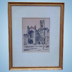 William H. Eppens  Artist Signed Print Chicago Memorial Chapel