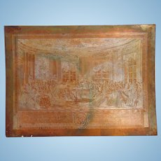 Early 19th century Intaglio Heavy Copper Printing Plate