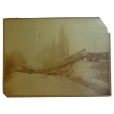 Railroad Train Disaster Albumen photo Collapsed Bridge Sabotaged