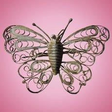 Victorian era Sterling Silver Butterfly brooch