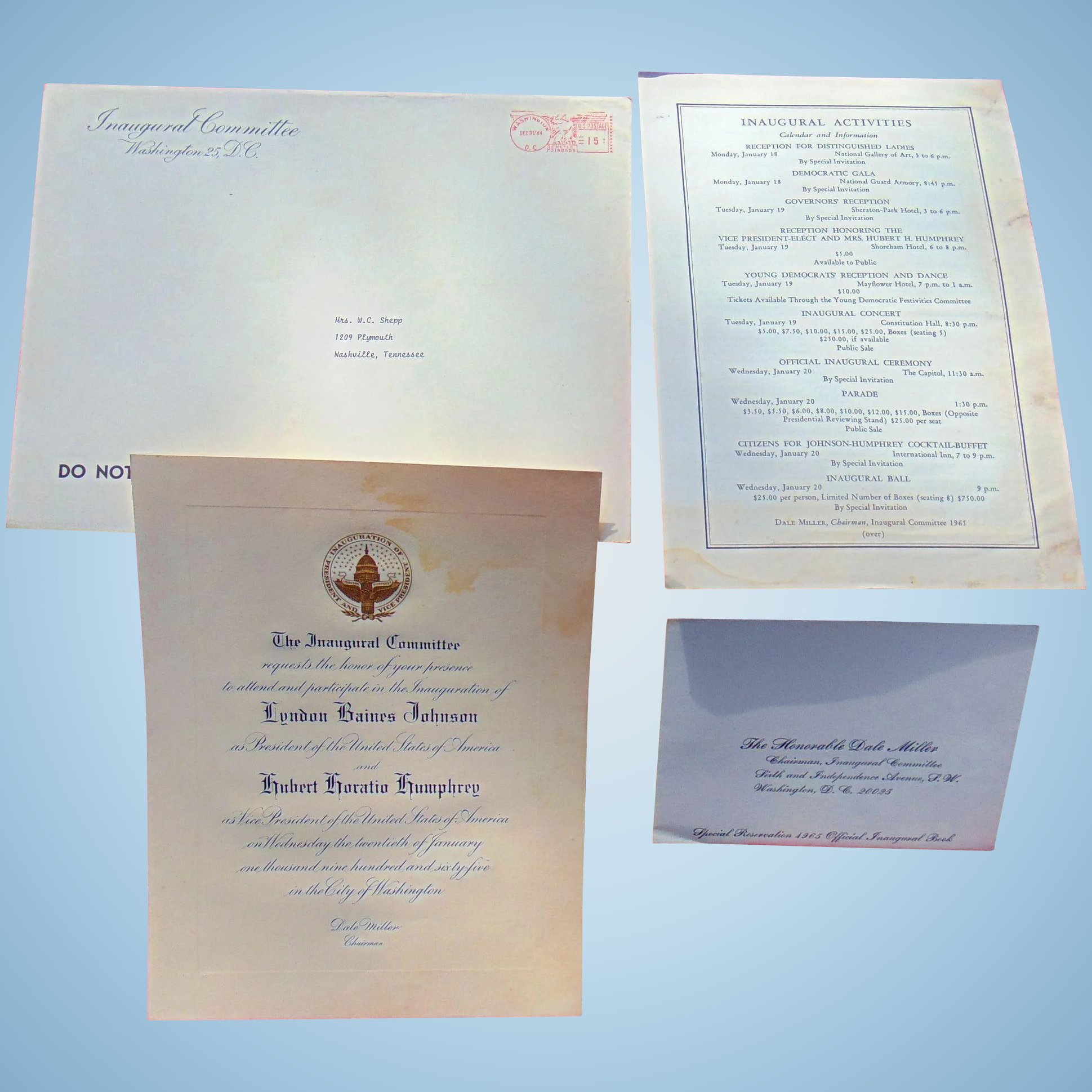 Formal invitation from lyndon johnson humphrey inauguration 1965 click to expand stopboris Images