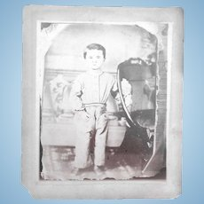 Very Early Salt Print Albumen of Boy with Mourning Urns.. Creepy