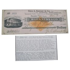 George l. Shoup Salmon City, Challis and Bonanza, Idaho signed check dated 1882