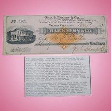 George l. Shoup Salmon City, Challis and Bonanza, Idaho signed check dated 1882