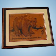 Early and scarce c.1910 Polar Bear Baseball Tobacco Advertising sign