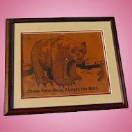 Early and scarce c.1910 Polar Bear Baseball Tobacco Advertising sign