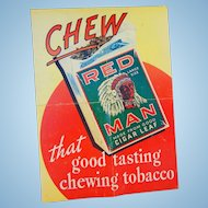 Original c.1950's Red Man Chewing Tobacco Advertising Poster