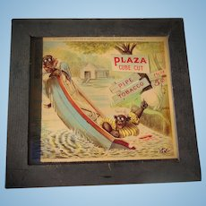 SCARCE 1901 Plaza Cube Cut Pipe Tobacco African-American Advertising Card in Original Frame