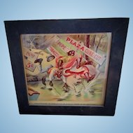 1901 Plaza Cube Cut Pipe Tobacco African-American Advertising Card in Original Frame Gideon's Band