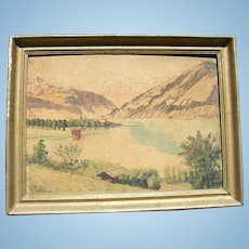 c.1920's Western Landscape Painting on Board Signed E.Frohnmeyer