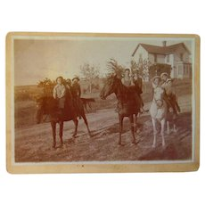 9 Kids and two Mules in Grass Valley,California 1880's Photograph