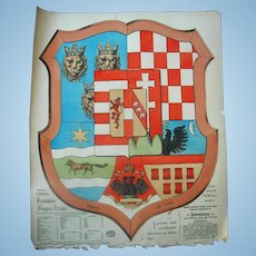 Hungary Coat of Arms Chromatography  Travel Poster c.1890's