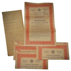 1916 Russian Imperial Bonds in original envelope