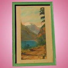 Artist Signed c.1920's Hand Tinted Photo of Yosemite