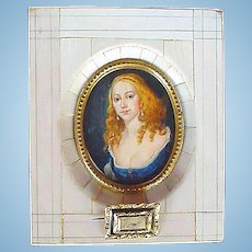 Miniature Portrait of Beautiful Red Head Lady Signed Lely
