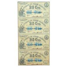 Sheet of North Carolina Confederate Civil War 25 Cent Obsolete Notes R-8 Variety