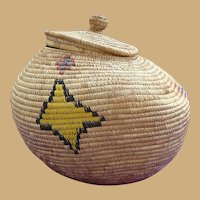 Superb Antique Inuit Eskimo Lidded Basket Decorated with Tribal Symbols