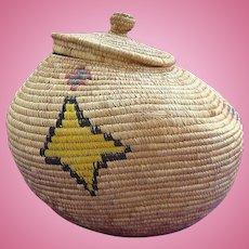 Superb Antique Inuit Eskimo Lidded Basket Decorated with Tribal Symbols