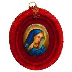 19th century hand-painted miniature portrait of Madonna