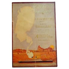 1912 Menu for Association of American Railway Accounting Officers aboard The Empress of Britain Cruise Ship
