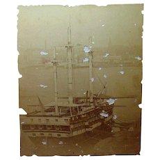 Albumen Photo of Battleship Vermont 1880