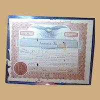 Anastasia Island,St. Augustine,Florida Stock Certificate from 1926 Davis Shores J.R.Vaughan