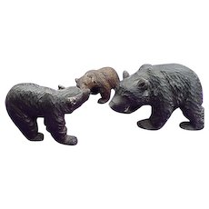19th Century Folk Art Carved Bears Papa Bear,Mamma Bear & Baby Bear