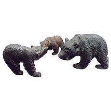 19th Century Folk Art Carved Bears Papa Bear,Mamma Bear & Baby Bear