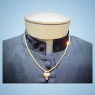 Vintage Impeccable 14kt. Gold Necklace with Blue Sapphire & Diamond Heart Necklace