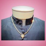 Vintage Impeccable 14kt. Gold Necklace with Blue Sapphire & Diamond Heart Necklace