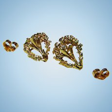 Gorgeous Petite Diamond and 14kt. Gold Floral & Heart Earrings