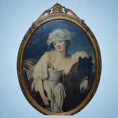 Victorian  hand tinted print of the Jean-Baptiste Greuze work of art titled Girl and horse in ornate frame
