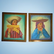 Peruvian Folk Art Oil Paintings of Natives Pre-World War 2