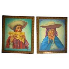 Peruvian Folk Art Oil Paintings of Natives Pre-World War 2
