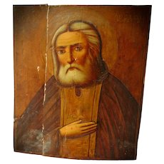Early Primitive Russian Icon Painting of Apostle Saint on Wood