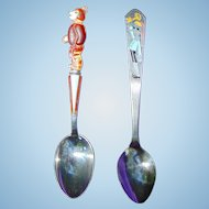 c.1930's Sterling Silver Baby Spoons  Baby Bear & Pinocchio