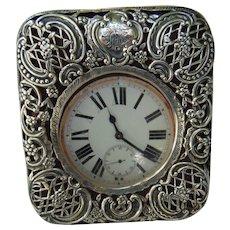 William Comyns & Sons Ltd , London  Sterling Silver Travel Clock c.1905