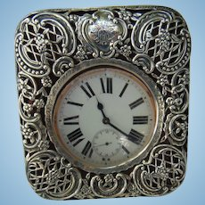 William Comyns & Sons Ltd , London  Sterling Silver Travel Clock c.1905
