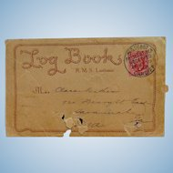 Scarce 1910 Lusitania Cancelled Postal Cover Log Book