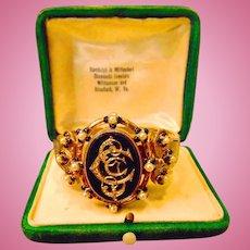 Glamorous 18kt. Gold Victorian Bracelet Onyx,Diamonds and Pearls