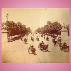 1870's Paris,France albumen photograph showing l'avenue des champs elysees