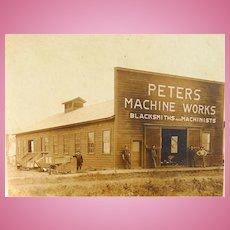 Peters Machine Works and Blacksmith & Machinist Shop Missouri Albumen Photograph