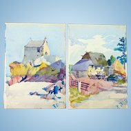 Fine Watercolors of Villa-Pecan Brittany France 1931