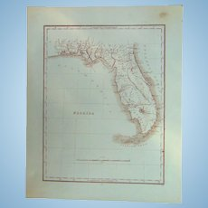 19th Century Map of Florida 1st Seminole Reservation