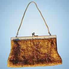 Gorgeous Diva Gold Beaded Evening Prom Purse with Silk Lining