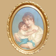 1870's Victorian Masterpiece in Palatial Gold Gilt Oval Frame
